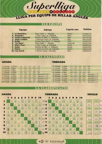 Calendari i classificació